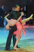 Minsk-belarus, October 18, 2014: Kolesnev Sergey-buldyk Arina Perform Adult Latin-american Program O