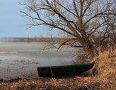 Boat On The River, Spring Landscape