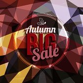 Autumn sale vector typography on triangular background in bright colors.