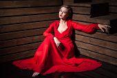 Beautiful Sensual Woman in Long Fashion Red Dress