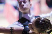 Minsk-belarus, October 18, 2014: Unidentified Dance Couple Performs Youth-1 Standard European Progra