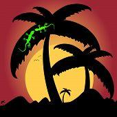 Two Green Lizard On Palm Tree Illustration