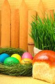Easter Cakes And Colored Eggs In The Nest, Green Grass