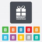 Merry christmas gift sign icon. Present symbol.