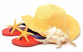 Beach Hat, Red Flip Flops With Starfishes And A Seashell