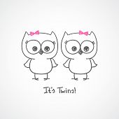 pic of twin baby girls  - vector little owls twins - JPG