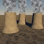 picture of reactor  - Power plant reactors smoking in blue sky 3d render - JPG