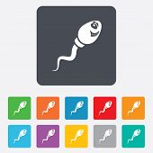 Sperm sign icon. Fertilization symbol.