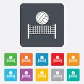 Volleyball net ball icon. Beach sport symbol