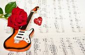Love card with rose and guitar