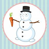 Crazy Snowman With Orange Carrot