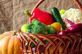 organic food background. Vegetables in the basket