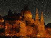 beautiful night landscape, triangle design illustration