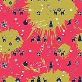Vector seamless colorful Christmas pattern