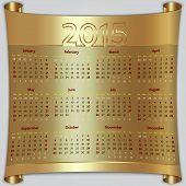 Calendar 2015 vector Sunday first american week 12 months golden metallic