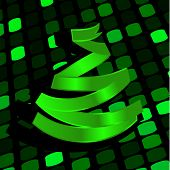 Festive background with green Christmas-tree made of ribbon. Vector illustration