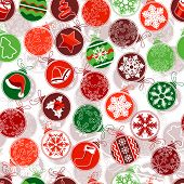 Seamless Christmas pattern with simple contour balls.  Endless texture can be used for horizontal wallpaper, pattern fills, christmas invitations and greeting cards.Vector illustration