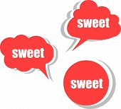 Sweet Word On Modern Banner Design Template. Set Of Stickers, Labels, Tags, Clouds