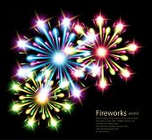 fireworks colors stars vector