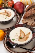 picture of parsnips  - Two bowls of hot delicious Roasted Parsnip and Pear Soup - JPG