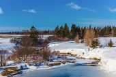 A frozen stream in rural Prince Edward Island, Canada.