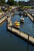 VICTORIA WATERFRONT,CANADA - JULY 15: View of  water taxis on July 15, 2014 at Victoria Waterfront