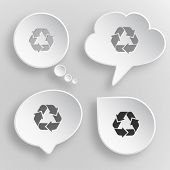 Recycle symbol. White flat buttons on gray background.
