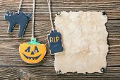 Old Paper For Congratulations With Halloween And Homemade Cookies