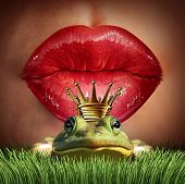 foto of  lips  - Love Match and finding prince charming or mr right concept as red female lips getting ready to kiss a frog prince wearing a crown as a metaphor for finding romance and relationship online dating symbol - JPG