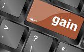 Gain Word On Computer Pc Keyboard Key