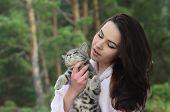 Girl with her cat .Ukraine