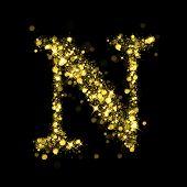 Sparkling Letter N on black background. Alphabet of golden glittering stars (glittering font concept). Christmas holiday illustration of bokeh shining stars character..