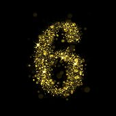 Number six of gold glittering stars (glittering font concept).Vector christmas illustration of a shining stars numbers.