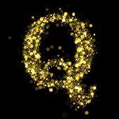 Sparkling Letter Q on black background. Alphabet of golden glittering stars (glittering font concept). Christmas holiday illustration of bokeh shining stars character..