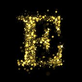 Sparkling Letter E on black background. Alphabet of golden glittering stars (glittering font concept). Christmas holiday illustration of bokeh shining stars character..