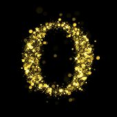Sparkling Letter O on black background. Alphabet of golden glittering stars (glittering font concept). Christmas holiday illustration of bokeh shining stars character..