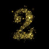 Number two of gold glittering stars (glittering font concept).