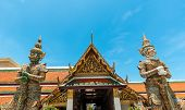 Wat Phra Kaew Deamon Guard Sculpture Kings Palace Ancient Temple Bangkok In Thailand.