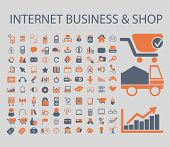 internet business, ecommerce, shop, sales icons, signs, illustrations, vector, set