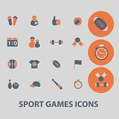 sport, games, fitness icons, signs, illustrations, vector, set