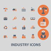 industry, factory, business icons, signs, illustrations set, vector