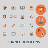 connection, communication, internet icons, signs, illustrations, vector, set