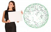 Businesswoman hold empty paper and wire frame sphere