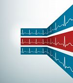 Abstract Vector Stripes With Heartbeat Line.