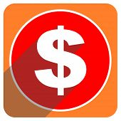 dollar red flat icon isolated
