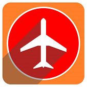 plane red flat icon isolated