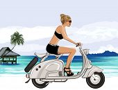 Young woman riding a scooter near a tropical beach - Vector illustration