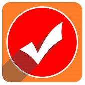 accept red flat icon isolated