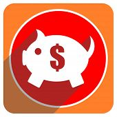 piggy bank red flat icon isolated