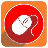 mouse red flat icon isolated